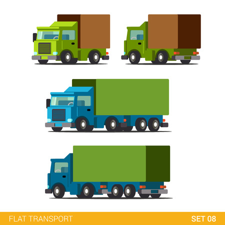 Foto de Flat 3d isometric high quality funny cargo delivery road transport icon set. Truck van automobile wagon motor lorry. Build your own world web infographic collection. - Imagen libre de derechos