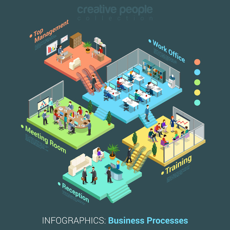 Illustration pour Flat 3d isometric business office floors interior rooms concept vector - image libre de droit
