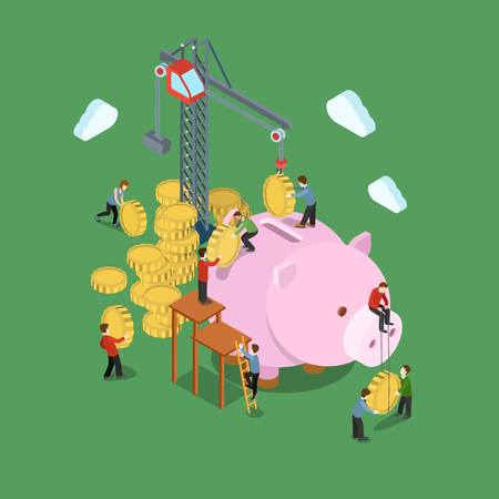 Illustration for Investment process concept flat 3d web isometric infographic vector. Crane and people put in coins to moneybox. Creative people financial monetary piggy bank savings collection. - Royalty Free Image