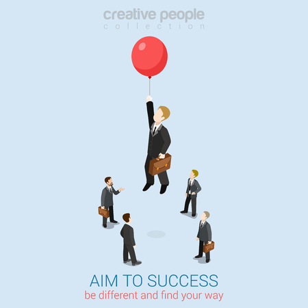 Illustration pour Aim to success flat 3d web isometric infographic business concept vector template. Businessman fly up away high on balloon. Creative people collection. - image libre de droit