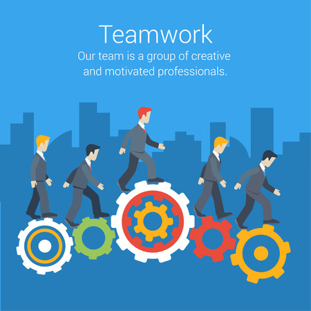 Ilustración de Flat style modern teamwork, workforce, staff infographic template concept. Conceptual web illustration of business people cog wheels city skyscrapers background. Leadership, human resource management. - Imagen libre de derechos