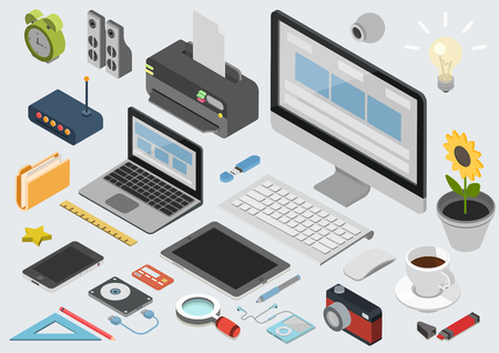 Ilustración de Flat 3d isometric computerized technology designer workspace infographic concept vector. Tablet, laptop, smart phone, camera, player, printer, desktop computer, printer, peripheral devices icon set. - Imagen libre de derechos