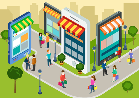 Ilustración de Flat 3d web isometric e-commerce, electronic business, online mobile shopping, sales, black friday infographic concept vector. People walk on the street between stores boutiques like phones tablets. - Imagen libre de derechos