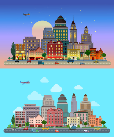 Illustration pour Flat cartoon city set day and sunset night. Road highway avenue transport street traffic before line of buildings skyscrapers business center offices. Urban life lifestyle collection. - image libre de droit
