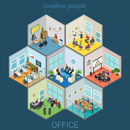 Ilustración de Flat 3d isometric abstract office interior room cells company workers staff concept vector. Reception, meeting conference, training class, accounting, open space. Creative business people collection. - Imagen libre de derechos