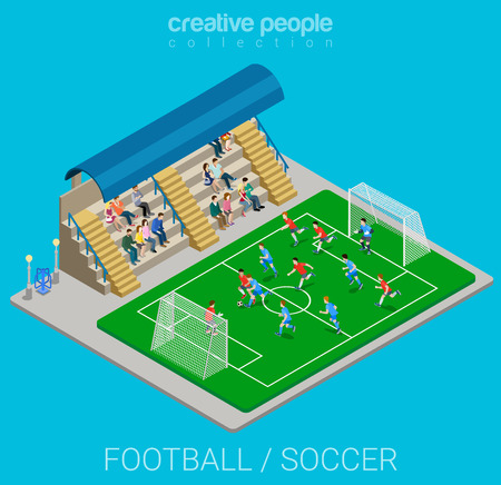 Illustration pour Football / soccer stadium competition match play. Sport modern lifestyle flat 3d web isometric infographic vector. Young joyful people team sports championship. Creative sportsmen people collection. - image libre de droit