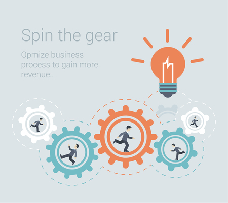 Illustration pour Flat style modern effective process teamwork, workforce infographic template concept. Conceptual web illustration business people innovation spin the cog wheel gear mechanism light up lamp idea icon. - image libre de droit