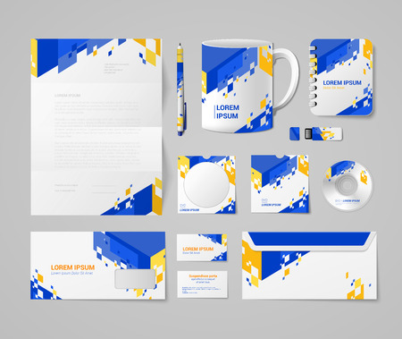 Foto de Modern corporate identity mockup template blue yellow orange abstract concept. Stationery business objects blank pen cup notebook USB flash drive CD DVD disc envelope mail card. - Imagen libre de derechos