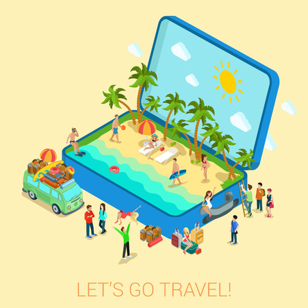 Ilustración de Summertime travel beach vacation flat 3d web isometric infographic tourism concept vector template. Open suitcase with seashore hippie van surfer young girls in bikini. Creative people collection. - Imagen libre de derechos
