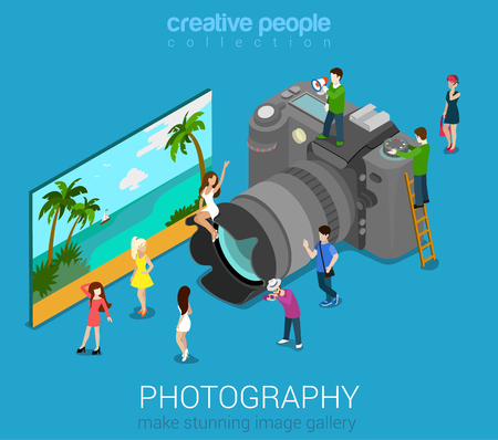 Illustration pour Micro people on DSLR photo camera and sample abstract picture. Flat 3d isometric web vector infographic illustration. Professional digital photography session concept. Creative people world collection. - image libre de droit