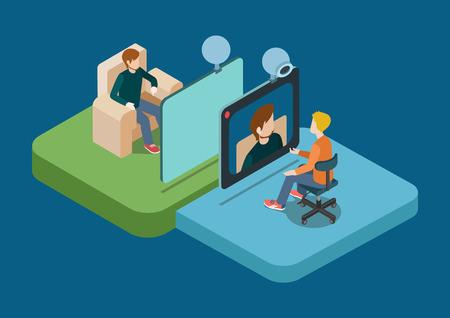 Ilustración de Video call chat conference flat 3d web isometric infographic concept vector. Two men speaking over web camera. Creative people collection. - Imagen libre de derechos