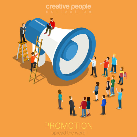 Illustration for Social media promotion online marketing flat 3d web isometric infographic modern technology communication concept. Huge loudspeaker micro people listening. Spread the word. Creative people collection. - Royalty Free Image