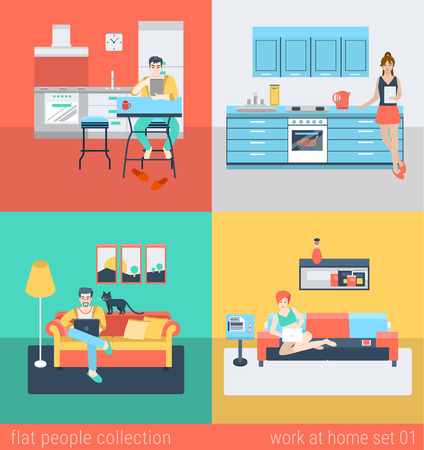 Ilustración de Set of young man woman freelance homework in kitchen living room sofa. Flat people lifestyle situation work at home concept. Vector illustration collection of young creative humans. - Imagen libre de derechos