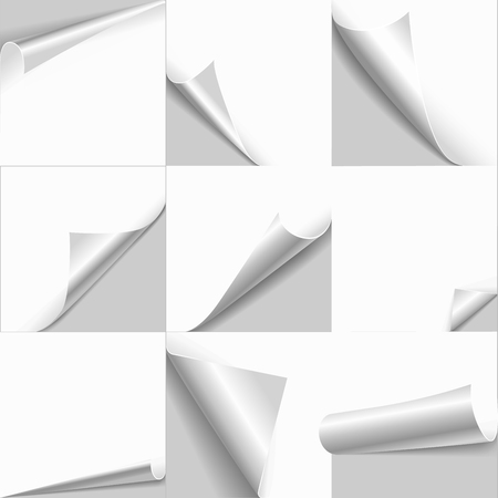 Illustration pour Creative page curl rolled set. Web background templates of empty white paper with flip edges. Copy space for text, logo, header, product. - image libre de droit