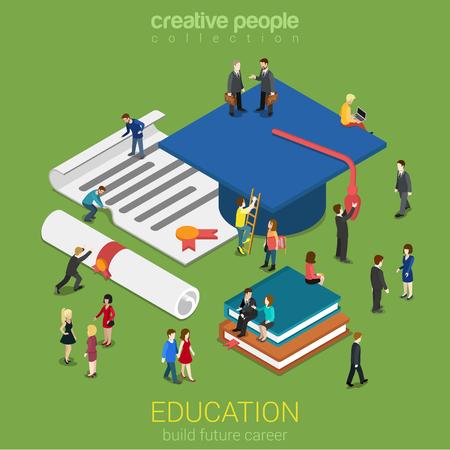 Illustration pour Education graduation license certificate flat 3d web isometric infographic concept vector. Micro people with big graduate cap books cert. Creative people collection. - image libre de droit