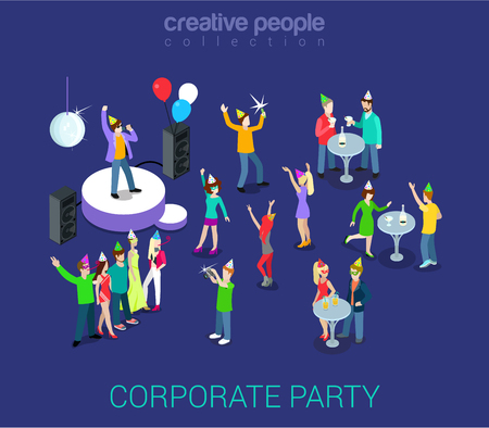 Illustration for Corporate party holiday event team building flat 3d web isometric infographic human relations HR concept vector template. Group young men girls dancing. Creative people world collection. - Royalty Free Image