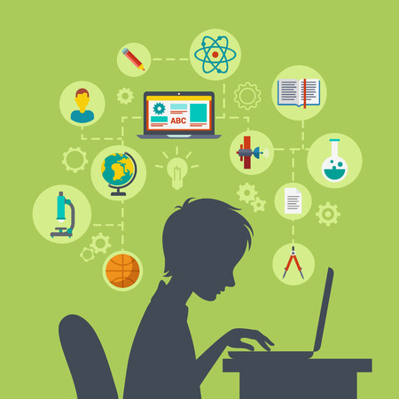 Photo pour Flat style modern web infographic e-learning, online education, knowledge power, perspective, future growing concept vector illustration. Young school boy silhouette over table with laptop excited. - image libre de droit