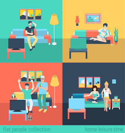 Illustration pour Set of friends family in living room watch TV leisure. Flat people lifestyle situation family leisure time concept. Vector illustration collection of young creative humans. - image libre de droit