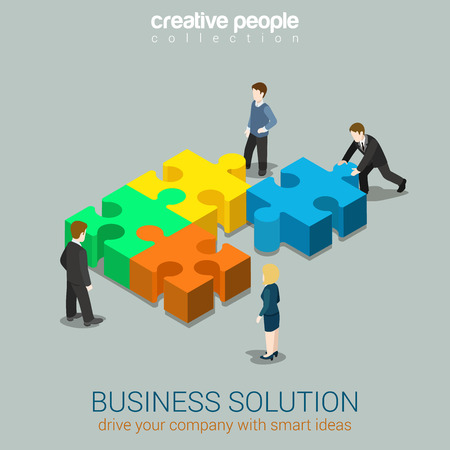 Illustration pour Business solution smart idea concept flat 3d web isometric infographic vector. Four businessmen solving pushing pieces of puzzle. Creative people collection. - image libre de droit