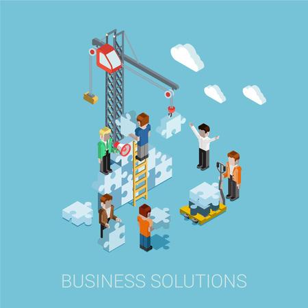 Ilustración de Flat 3d isometric business solutions web infographic concept vector. Crane construction building puzzle pieces. People constructing, manager boss foreman, pallet. Innovations, teamwork and leadership. - Imagen libre de derechos