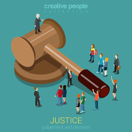 Illustration pour Justice and law, judgment and decision, court session, judicial sitting flat 3d web isometric infographic concept vector. Micro casual people and judge on gavel. Creative people collection. - image libre de droit