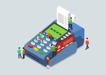 Illustration pour Credit card pin code payment terminal concept flat 3d web isometric infographic vector. Micro people pressing buttons scanning card, sales slip cheque. Creative people collection. - image libre de droit