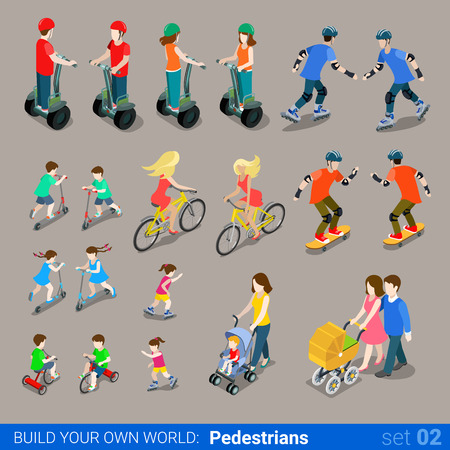 Photo for Flat 3d isometric high quality city pedestrians on wheel transport icon set. Segway skates kickboard bicycle pram skate-board scooter and riders. Build your own world web infographic collection. - Royalty Free Image