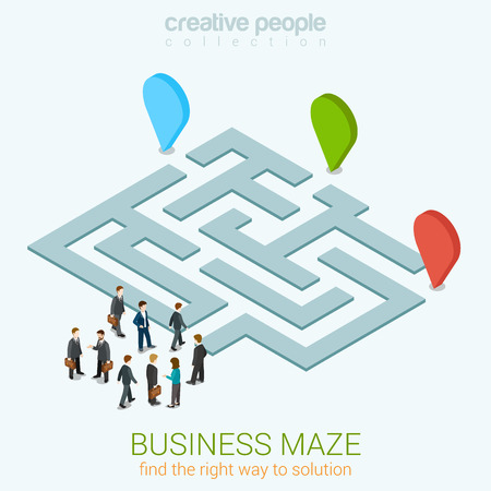 Illustration pour Business maze puzzle flat 3d web isometric infographic concept vector template. Find your way to solution. Group pf businessmen near entrance. Creative people collection. - image libre de droit