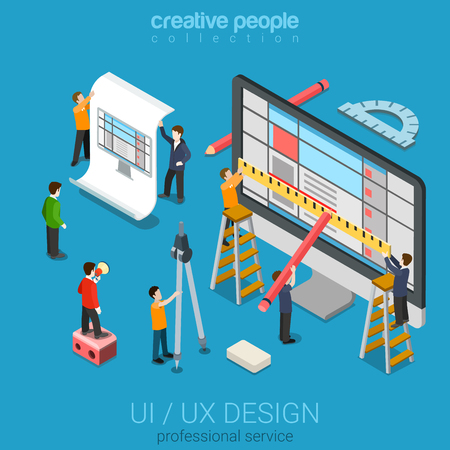 Illustration pour Flat 3d isometric desktop UI/UX design web infographic concept vector. Crane micro people creating interface on computer. User interface experience, usability, mockup, wireframe development concept. - image libre de droit