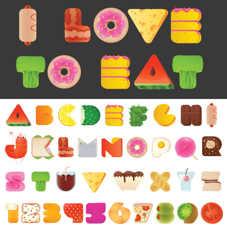 Ilustración de Stylish yummy funny food letters and numbers latin font. Snack A to Z typeset alphabet collection. Modern style typography elements everyone would like to eat. - Imagen libre de derechos