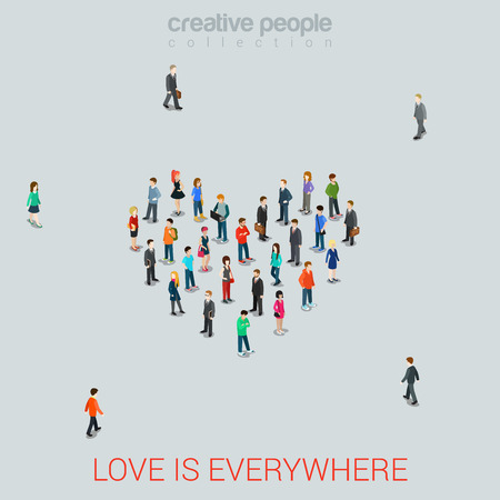 Foto de People standing as Heart shape flat isometric 3d style vector illustration. Love concept idea. Creative people collection. - Imagen libre de derechos