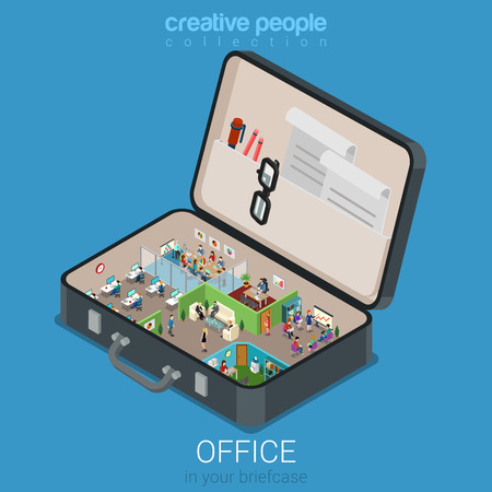 Ilustración de Micro mobile office in big briefcase concept flat 3d web isometric infographic concept vector. Office walls interior rooms in opened business brief case. Creative people collection. - Imagen libre de derechos
