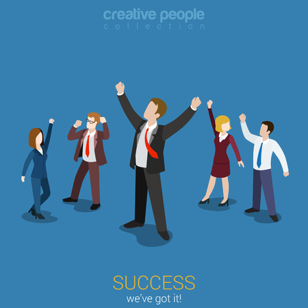 Illustration for Success in business flat 3d web isometric infographic vector. Happy successful businesspeople group. Creative people collection. - Royalty Free Image