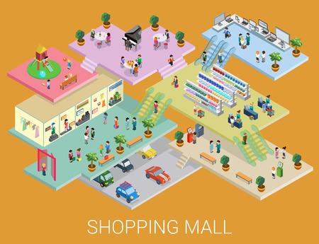 Ilustración de Flat 3d isometric shopping mall concept vector. City shopping center, boutique gallery indoor interior floors with walking shoppers. Sale, entertainment, multi-use, retail store business concept. - Imagen libre de derechos