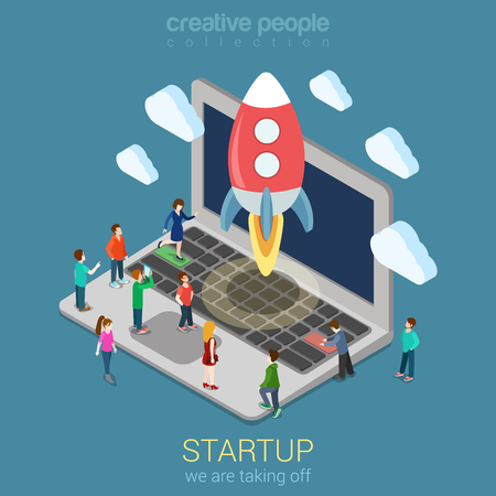 Illustration pour Startup launching process flat 3d web isometric infographic technology online service application internet business concept vector. Rocket space ship taking off laptop keyboard micro creative people. - image libre de droit
