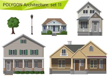 Illustration pour Polygonal style houses and buildings set. Countryside and suburb design elements. Polygon architecture collection. - image libre de droit