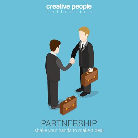Illustration pour Flat 3d web isometric partnership deal handshake to succeed infographic concept vector. Two businessmen shaking hands. Creative people collection. - image libre de droit