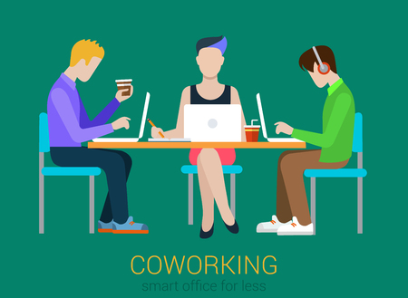 Illustrazione per Coworking flat web infographic concept vector. Co-working three people at the table with laptops. Office agency work process. Creative people collection. - Immagini Royalty Free