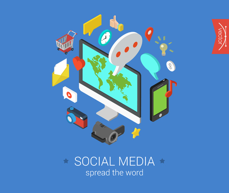 Illustration for Social media flat 3d isometric pixel art modern design concept vector icons composition set. Desktop, chat, video, photo, music, phone, tablet. Flat web illustration infographics collection. - Royalty Free Image