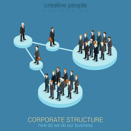 Foto per Flat 3d isometric infographic concept of company corporate department team diagram structure web concept vector template. Connected platform pedestals groups of business people. Organization chart. - Immagine Royalty Free