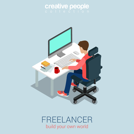 Ilustración de Freelancer at work flat 3d web isometric infographic concept vector. Build your own world creative people collection. - Imagen libre de derechos
