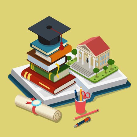 Photo for College university education graduation flat 3d web isometric - Royalty Free Image