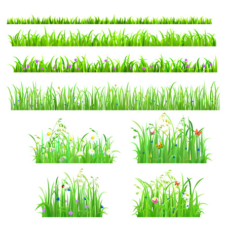 Ilustración de Set of 8 seamless nice shiny fresh flower butterfly grass lines isolated background. Nature spring summer backgrounds collection. - Imagen libre de derechos