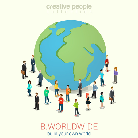 Photo pour Be worldwide cosmopolitan globalization flat 3d web isometric infographic concept vector. Micro people standing around huge earth planet globe. Creative people collection. - image libre de droit