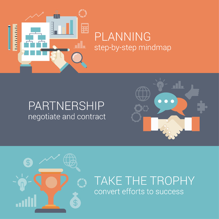 Illustration pour Flat style business planning, partnership and success results process infographic concept. Hand drawing strategy chart mindmap, contract handshake, trophy cup web site icon banners templates set. - image libre de droit