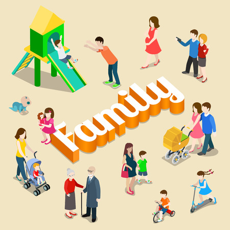 Illustrazione per Family modern lifestyle flat 3d web isometric infographic vector. Young joyful parents micro male female group parenting mother father dad mom huge letters. Creative people collection. - Immagini Royalty Free