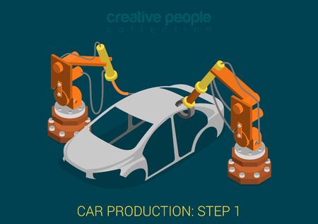 Ilustración de Car production plant process step 1 welding works flat 3d isometric infographic concept vector illustration. Factory robots weld vehicle body in assembly shop. Build creative people world collection. - Imagen libre de derechos