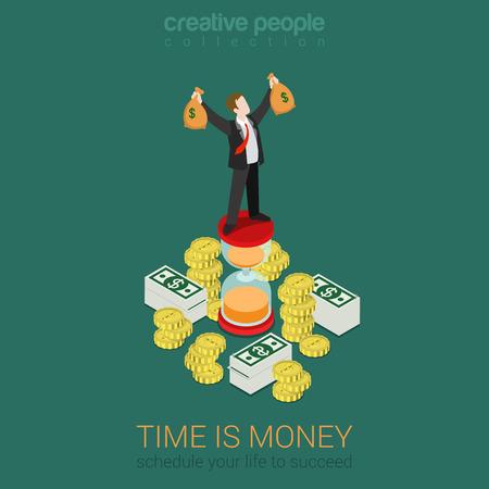 Ilustración de Time is money schedule management flat 3d web isometric infographic business concept vector. Happy successful businessman on hourglass top rising hands with money bags. Creative people collection. - Imagen libre de derechos