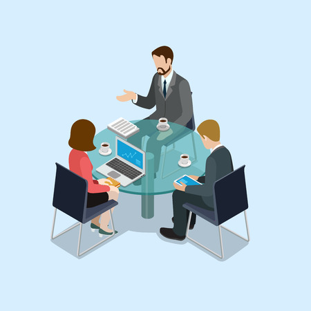 Illustration pour Business negotiations concept flat 3d web isometric infographic vector. Group of businessmen and woman round table talk. Creative people collection. - image libre de droit