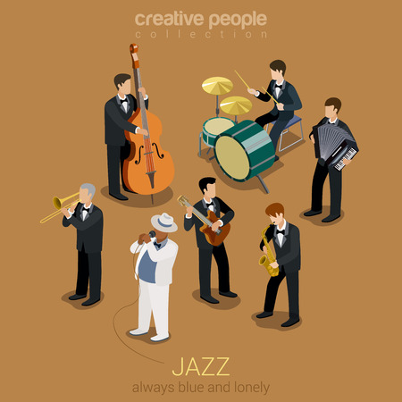 Foto de Jazz music band flat 3d web isometric infographic concept vector. Group of creative young people playing on instruments blues scene concert. Guitar sax cello accordion trombone. Creative collection. - Imagen libre de derechos